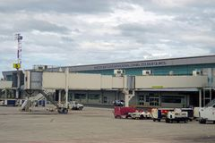Der internationale Daniel Oduber Quiros LIR Flughafen Aeropuerto in Costa Rica Lizenzfreie Stockfotografie
