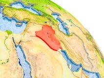 Der Irak im roten Modell von Erde Lizenzfreies Stockfoto