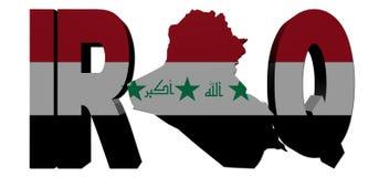Der Irak-Kartentext mit Markierungsfahne vektor abbildung