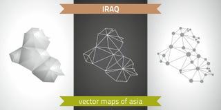 Der Irak-Satz Grau und polygonale Karten des Silbermosaiks 3d Grafische Vektordreieckgeometrieentwurfs-Schattenperspektive zeichn Stockfotografie