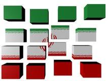 Der Iran-Markierungsfahne auf Würfeln Stockfoto
