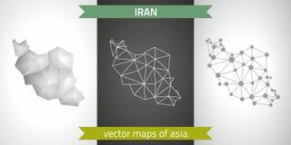 Der Iran-Sammlung der modernen Karten-, Grauer und Schwarzer und silbernerdes punktkonturn-Mosaiks 3d Karte des Vektordesigns Stockfotografie