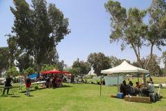 Der Israeli feiern Israel-` s jährlichen Unabhängigkeitstag BBQ im Park im Bier Sheba draußen kochend Stockbilder