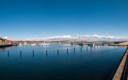 Der Jachthafen auf dem Küste Verdens-ende, Norwegen lizenzfreies stockbild