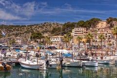 Der Jachthafen bei Puerto de Soller, Mallorca Stockfoto