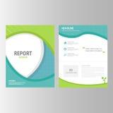 Der Jahresberichtbroschürenfliegerdarstellungsschablonenelement-Ikone des blauen Grüns flaches Design stellte für die Werbung der Lizenzfreie Stockbilder