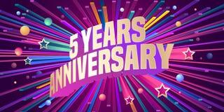 5 der Jahrestagsvektor-Jahre Ikone, Logo Stockbild
