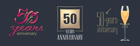 50 der Jahrestagsvektor-Jahre Ikone, Logosatz vektor abbildung