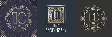 10 der Jahrestagsvektor-Jahre Ikone, Logosatz vektor abbildung