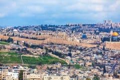 Der Jerusalem-alte Stadt und Tempelberg stockbilder