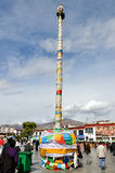 Mast vor dem Jokhang Tempel Stockfoto