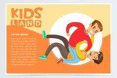 Der jugendlich Junge, der auf dem Boden geschlagen wird von einem anderen Jungen liegt, Jugendlicher scherzt streiten, aggressive stock abbildung