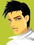 Der Junge auf dem grünen Hintergrund Stockfoto