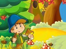 Der Junge auf der Pilzkopfbildung - Suchen der Pilze in der Lichtung Stockbilder