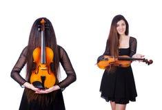 Der junge Ausführende mit Violine auf Weiß lizenzfreie stockfotografie