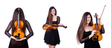 Der junge Ausführende mit Violine auf Weiß stockbild