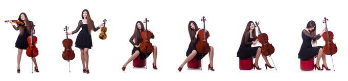 Der junge Ausführende mit Violine auf Weiß lizenzfreie stockfotos