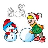Der Junge bildet einen Schneemann stock abbildung
