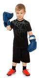 Der Junge in den Boxhandschuhen Lizenzfreie Stockfotos