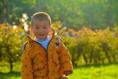 Der Junge, der in der Sonne heranwächst stockbilder