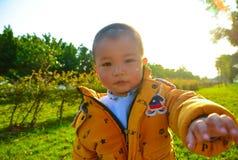 Der Junge, der in der Sonne heranwächst lizenzfreie stockfotos