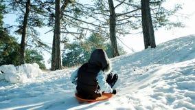 Der Junge, der hinunter die Hügel, Pferdeschlittenfahrt durch den Schnee, Spaßwinterunterhaltungen, glückliches Kind rodelt, zieh stock video