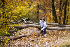 Der Junge, der mit goldenem Herbstlaub springt und spielt Stockbild