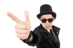 Der junge Detektiv im schwarzen Mantel an lokalisiert lizenzfreie stockfotos