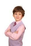 Der Junge in einem rosafarbenen Hemd Stockfotos