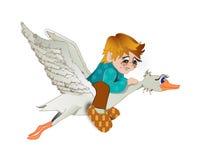 Der Junge fliegt auf eine Gans Lizenzfreie Stockfotografie