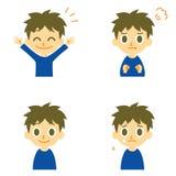 Der Junge, froh, verärgert, weinen Stockfotos