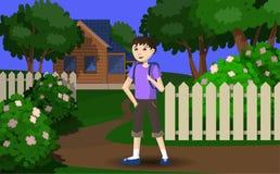 Der Junge geht im Urlaub zum Dorf stock abbildung