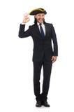 Der junge Geschäftsmann, der tricorn lokalisiert auf Weiß trägt Stockfoto