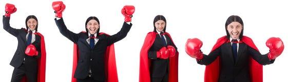 Der junge Geschäftsmannboxer lokalisiert auf Weiß Lizenzfreie Stockfotografie