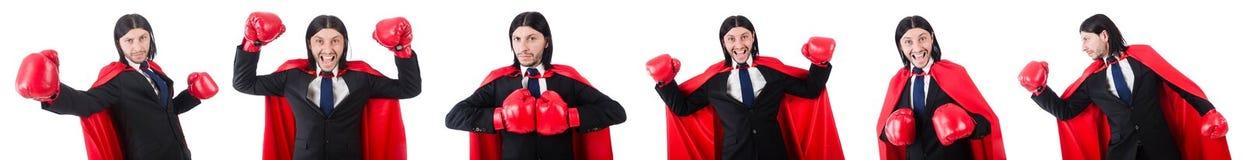Der junge Geschäftsmannboxer lokalisiert auf Weiß Lizenzfreie Stockbilder