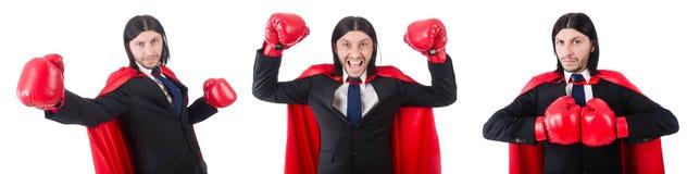 Der junge Geschäftsmannboxer lokalisiert auf Weiß Lizenzfreie Stockfotos