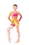 Der junge Gymnast ist in helle Strumpfhosen Stockbild
