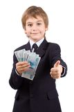 Der Junge hält das Geld an, getrennt Lizenzfreie Stockbilder