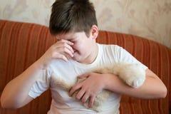 Der Junge ist zur Katze allergisch stockfotografie
