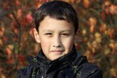 Der Junge 10 Jahre alt gegen Farben treibt beim Fallen Blätter Stockfoto