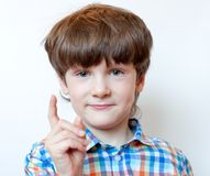 Der Junge 6 Jahre alt mit einem angehobenen Zeigefinger in einem karierten Hemd Stockfotografie