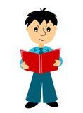 Der Junge liest den Bericht Stockfotografie