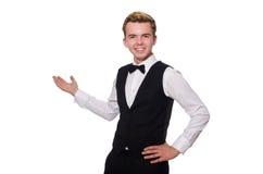 Der junge Mann in der schwarzen klassischen Weste Lizenzfreie Stockfotos