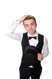 Der junge Mann in der schwarzen klassischen Weste an lokalisiert Lizenzfreie Stockfotografie