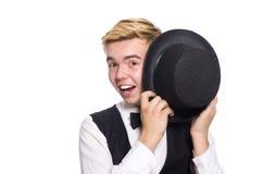 Der junge Mann in der schwarzen klassischen Weste an lokalisiert Stockfotografie