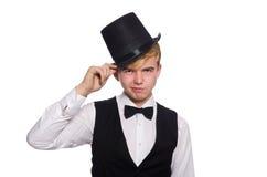 Der junge Mann in der schwarzen klassischen Weste und im Hut lokalisiert auf Weiß Stockbild