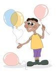 Der Junge mit Ballonen stock abbildung