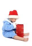 Der Junge mit einem Geschenk Lizenzfreies Stockfoto