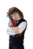 Der Junge mit einer Violine Lizenzfreies Stockbild