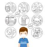 Der Junge, der N95 Luftverschmutzungs-Maske für trägt, schützen Staub PM2 5 Ursache von Luftverschmutzungs-Entwurfs-Ikonen stock abbildung